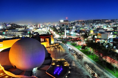 A nighttime view of Tijuana from above the Tijuana Cultural Center (CECUT) in the Zona Río district of Tijuana, Mexico.