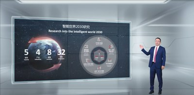 David Wang lanza el informe Intelligent World2030. (PRNewsfoto/Huawei)